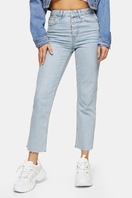 Topshop Womens Bleach Popper Straight Jeans - Bleach Stone