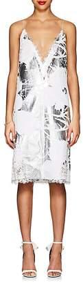"""Calvin Klein Women's """"Flowers"""" Foil-Appliquéd Cotton Slipdress"""