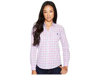 U.S. Polo Assn. Long Sleeve Plaid Poplin Shirt Women's Clothing