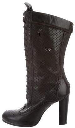 Belstaff Leather Round-Toe Mid-Calf Boots