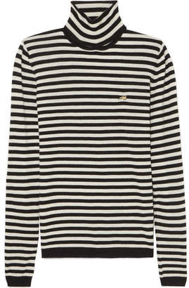 Bella Freud Striped Cashmere Turtleneck Sweater - Black
