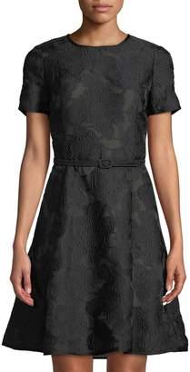 Oscar de la Renta Short-Sleeve Fil Coupe Fit-&-Flare Dress