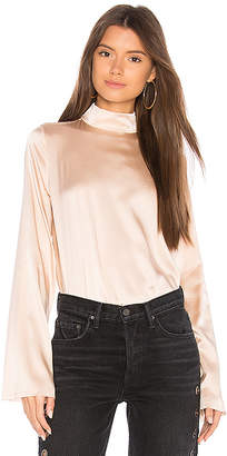 KENDALL + KYLIE Silk Oversized Mock Neck Blouse