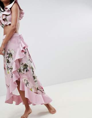 Ted Baker floral frill beach skirt