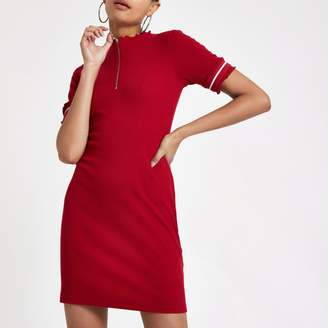 River Island Womens Red rib zip front Bodycon mini dress