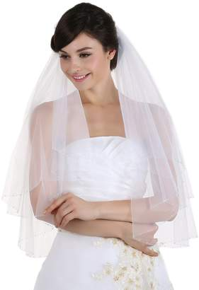 clear Venus Jewelry 2T 2 Tier Crystal Beaded Wedding Veil - V351