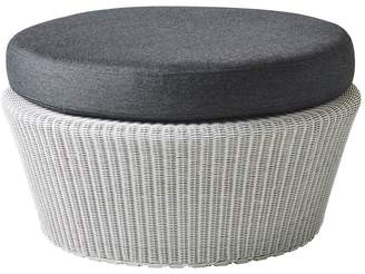 Cane Line Australia Kingston Outdoor Large Footstool/ottoman White Grey With Cushion Options