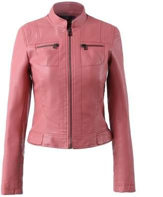 Moto LingLuoFang LLF Women's Faux Leather Simple Biker Jacket (Label 48) White (16b1629)