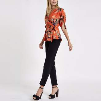 River Island Womens Red floral wrap side ruched sleeve top