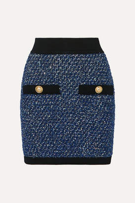 Balmain Button-embellished Metallic Tweed Mini Skirt - Blue