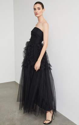 BCBGMAXAZRIA Strapless Ruffle-Trimmed Long Gown