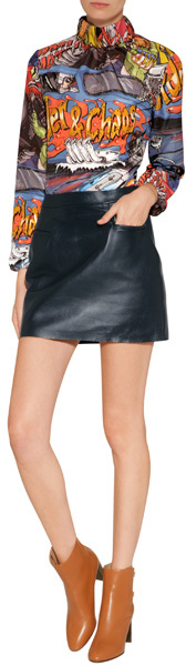 J.W.Anderson Leather Mini-Skirt in Navy