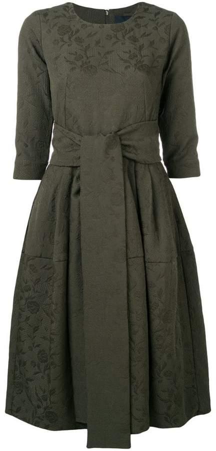 waist-tied flared midi dress