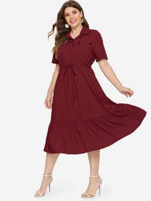 Shein Plus Ruffle Hem Drawstring Waist Shirt Dress