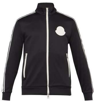 Moncler Rubberised Logo Patch Zip Through Track Jacket - Mens - Black