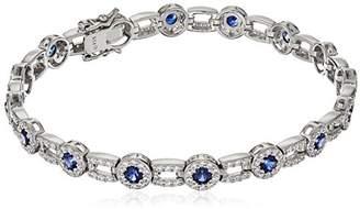Swarovski Platinum Plated Sterling Zirconia Clear Round Halo Link with Created Sapphire Tennis Bracelet