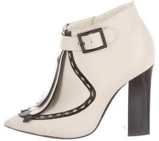 Pollini Leather Kiltie Ankle Boots