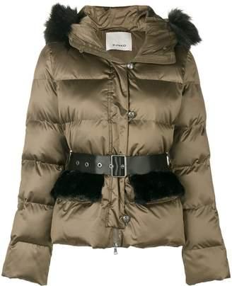 Pinko fur hood trim padded jacket