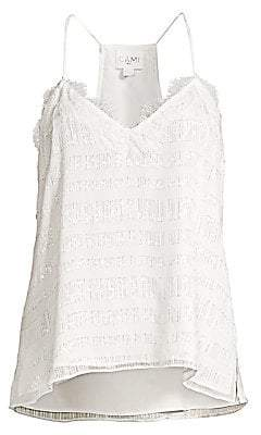 CAMI NYC Women's Racer Metallic Chiffon Top