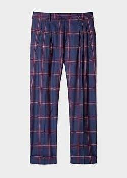 f56cd6b212 Men's Wide-Leg Navy Lydon Check Pleated Wool Trousers