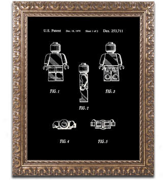 "Lego Claire Doherty 'Lego Man Patent 1979 Page 1 Black' Ornate Framed Art - 16"" x 20"""