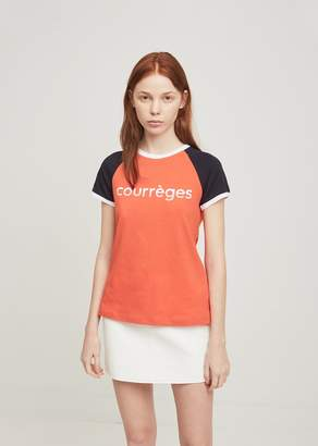 Courreges Logo Color Block Tee Red+Navy+White Logo