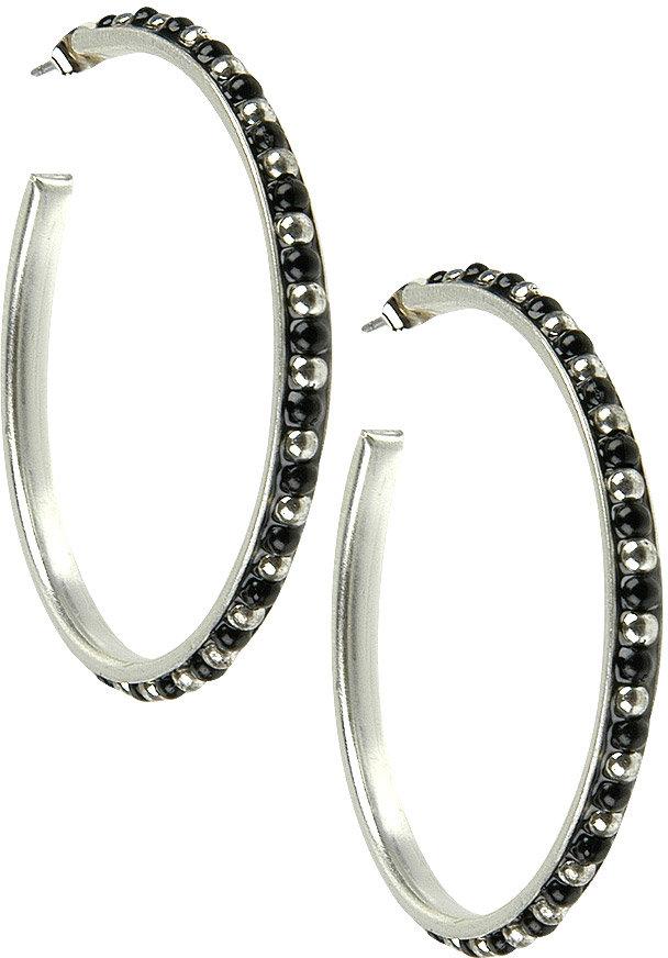 Round Beaded Hoop Earrings