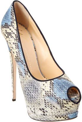 Giuseppe Zanotti Sharon Embossed Leather Peep Toe Platform Pump