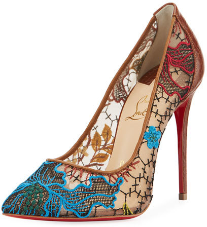 Christian Louboutin  Christian Louboutin Follies Piped Lace Red Sole Pump, Multi