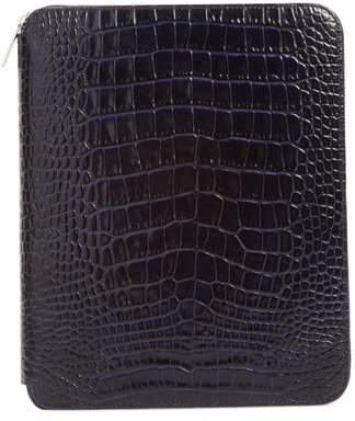 Smythson Mara Croc Embossed Zip Folder & A5 Notebook