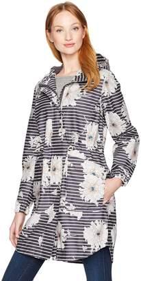 Joules Women's Raina Floral Print Rain Jacket with Hood