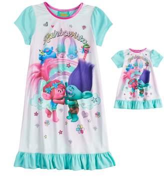 "DreamWorks Trolls Poppy & Branch Girls 4-18 ""Rainbowista"" Nightgown & Doll Gown Set"
