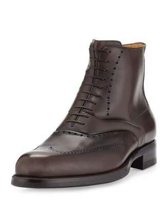 a.testoni Wing-Tip Leather Lace-Up Boot, Brown $980 thestylecure.com
