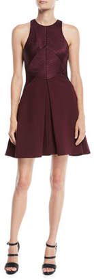 Halston Sleeveless Structured Dress w/ Satin Strips