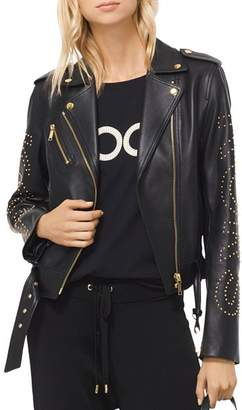 MICHAEL Michael Kors MICHAEL Studded Leather Moto Jacket
