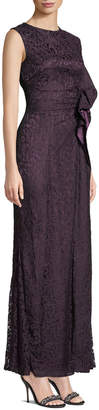 Tahari ASL Ruffle Sequin Lace Trumpet Gown