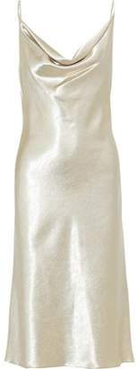 Black Halo Draped Satin-crepe Slip Dress