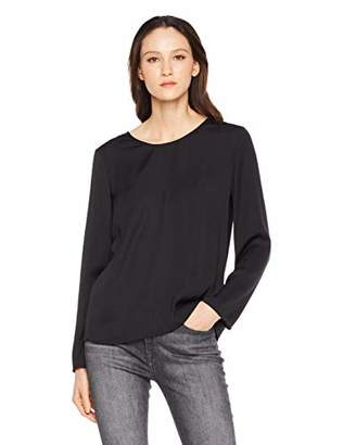 A.Dasher Women Chiffon Blouse Shirt with Crewneck Long Sleeve and Back V-Neck Lace Crochet