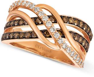 LeVian Le Vian Chocolatier Diamond Twist Ring (1 ct. t.w.) in 14k Rose Gold