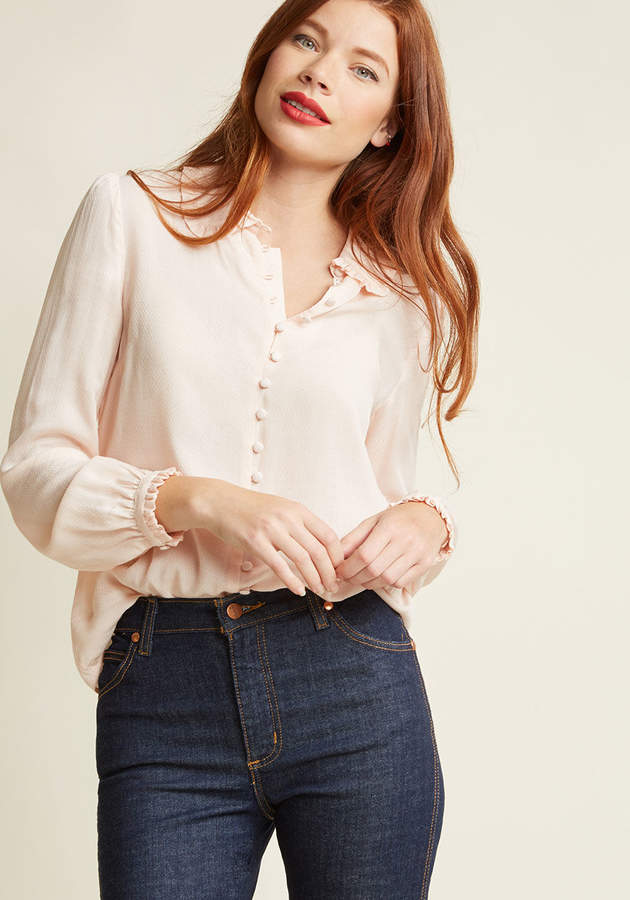 Jantex International Limited Thoroughly Ladylike Button-Up Top in Blush