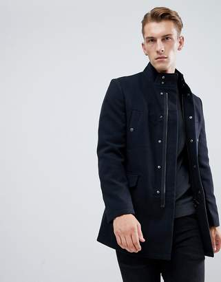 New Look single breasted military jacket in navy