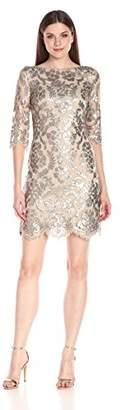 Calvin Klein Women's Three-Quarter Sleeve Lace Sheath Dress