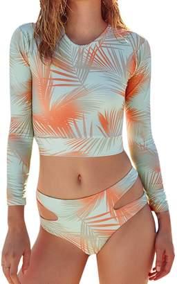 Viottis Women's Floral Soft Pad One-Piece Swimsuit Rash Guard Shirt L