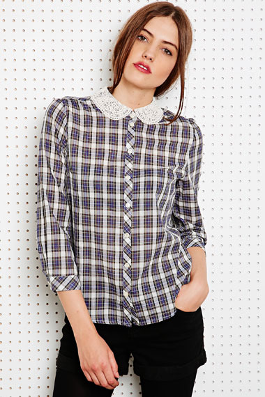 Cooperative Lace Collar Shirt in Check
