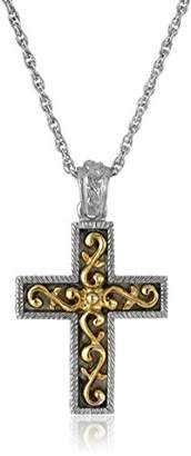 Symbols of Faith 14k Gold-Dipped and Silver-Tone Cross Pendant Necklace