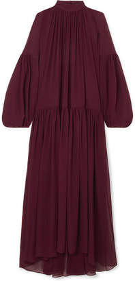 Stella McCartney Oversized Gathered Silk-chiffon Maxi Dress - Burgundy