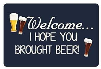 """doormats 23.6""""(L) x 15.7""""(W) Humorous Funny Saying & Quotes:Welcome I Hope You Brought Beer Machine-washable Doormat Mat"""