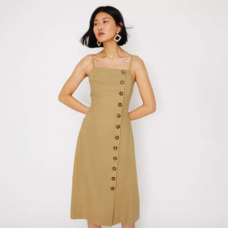 Warehouse Linen Mix Button Midi Dress