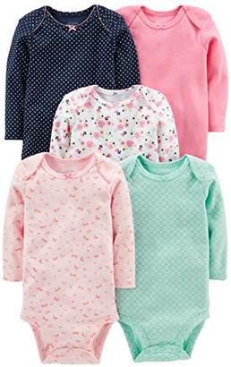 Carter's Simple Joys by Girls' 5-Pack Long-Sleeve Bodysuit