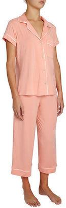 Eberjey Gisele Cropped Two-Piece Jersey Pajama Set , Pink $118 thestylecure.com